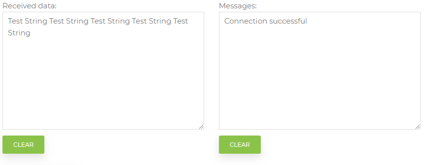 Test page receive data and messages controls